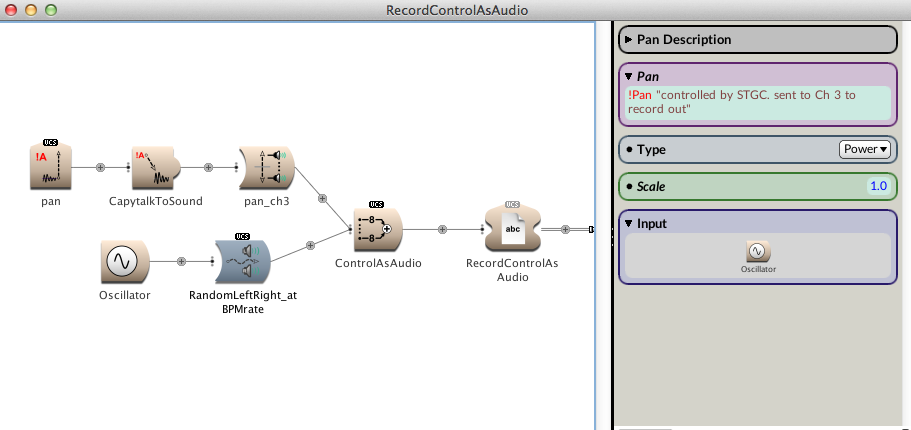 Figure 4. Recording SoundToGlobalController at Audio Rate in parallel with sound file.